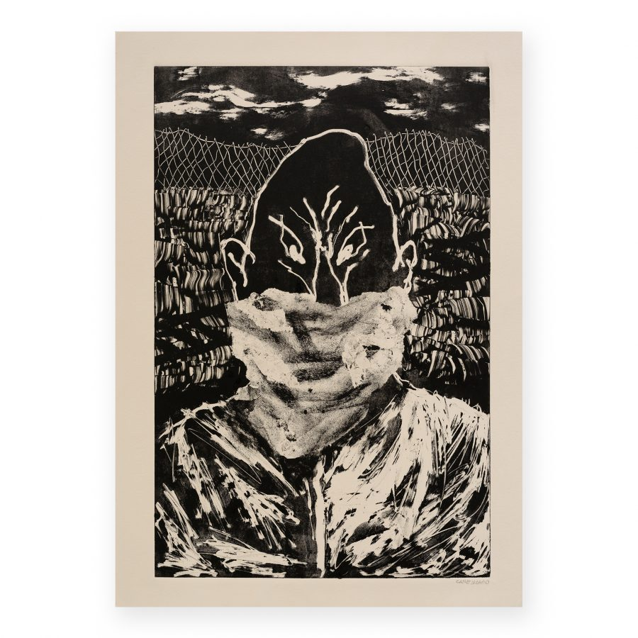 Canemorto -Uomo Nero con Bandana Monotype on paper